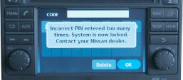 nissan sat nav radio code