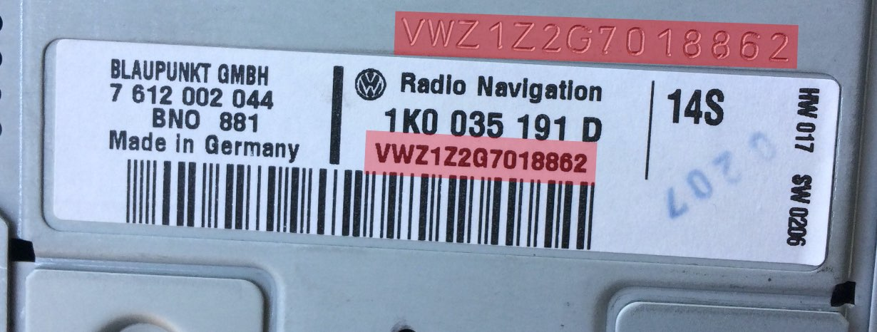 vw radio label with serial